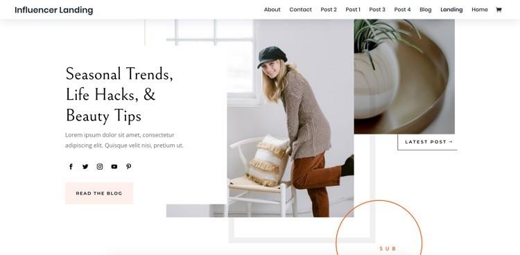 Feminines Webdesign influencer von divi